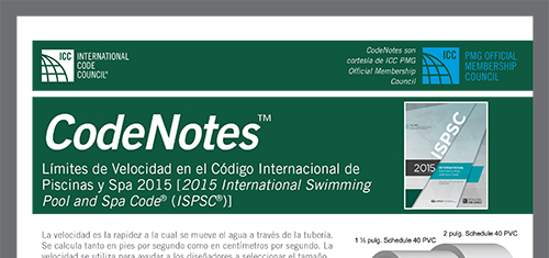 Límites de Velocidad en el Código Internacional de Piscinas y Spas 2015 [2015 International Swimming Pool and Spa Code® (ISPSC®)]