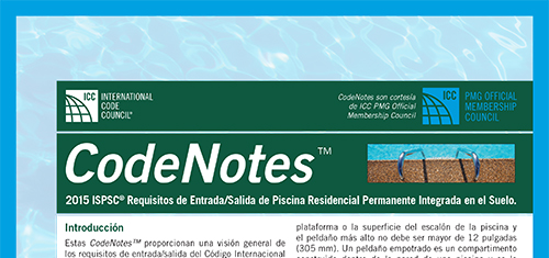 2015 ISPSC® Requisitos de Entrada/Salida de Piscina Residencial Permanente Integrada en el Suelo