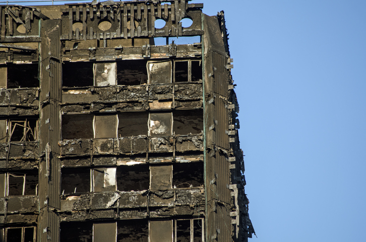 The Grenfell Tower in London after the June 14th fire, Photo source: iStock.com/AmandaLewis